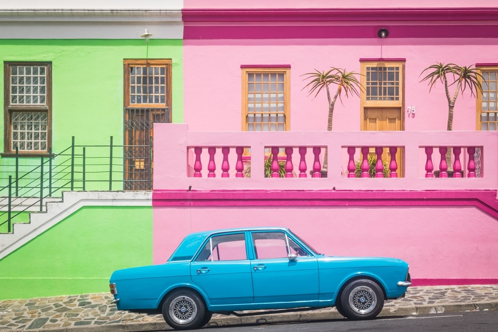 Car parked on the side walk in Cape Town, South Africa