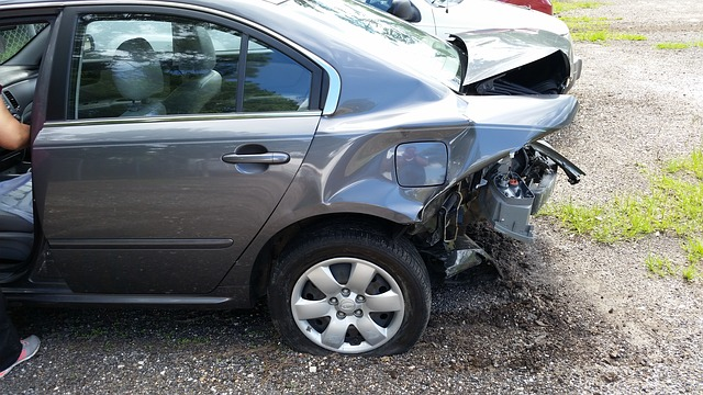 car back bumper smashed
