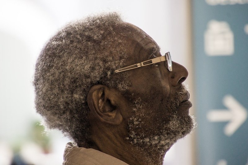 Profile of elderly man