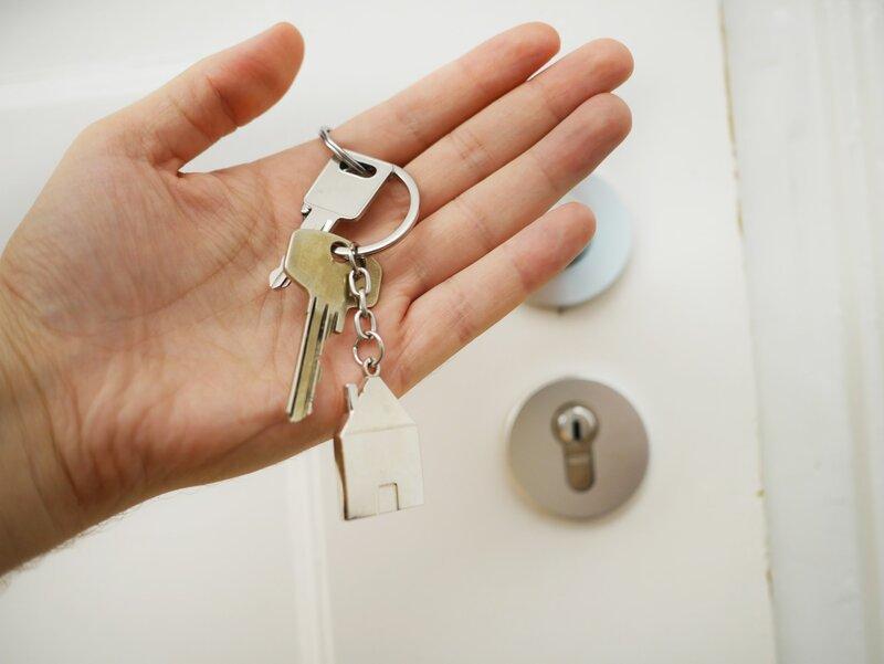 House keys in female hand