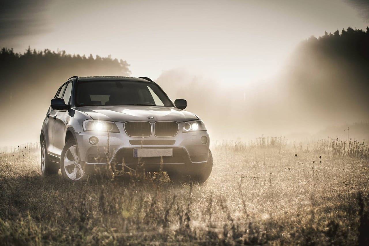 A Grey BMW SUV standing on a patch of grass in the early morning mist