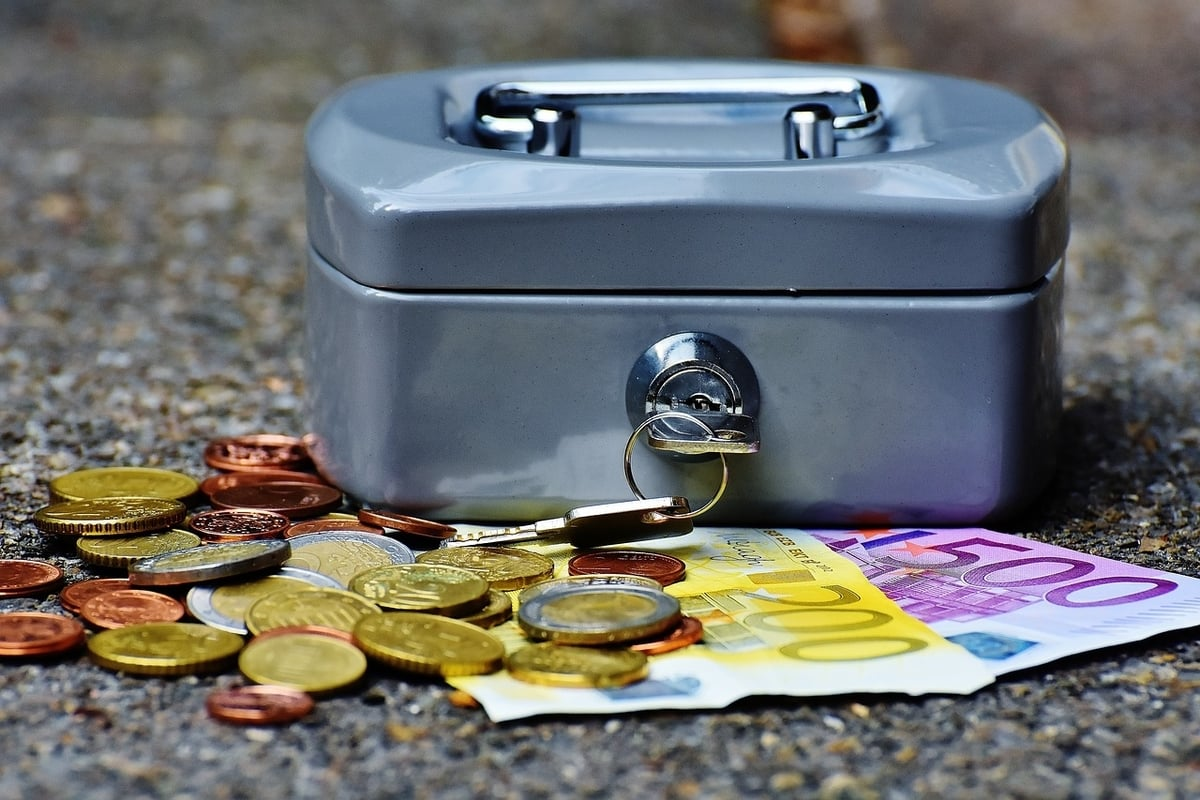 A cashbox with notes and coins