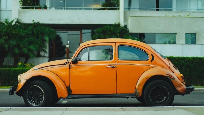 car yellow beetle