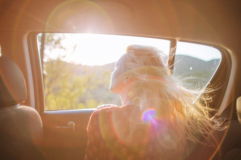 girl in car